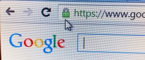 ock icon, signifying an encrypted Internet connection, is seen on an Chrome Browseer